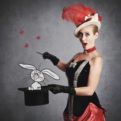 femme cirque vintage magicienne avec lapin blanc et chapeau haut-de-forme