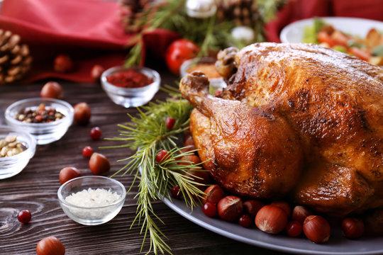 Tasty roasted turkey on plate