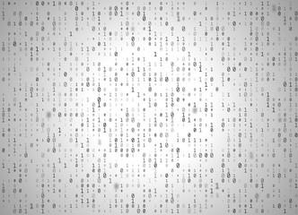 Vector binary code white background. Big data and programming hacking, decryption and encryption, computer streaming black numbers 1,0. Coding or Hacker concept