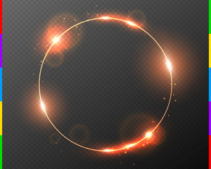 Vector red golden frame with light effect flare and sparks. Shining round Christmas banner. Glow ring isolated on dark transparent background. Vector illustration