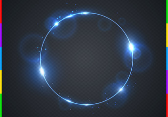 Vector electric blue frame with light effect flare and sparks. Shining round Christmas cold banner. Frozen glow ring isolated on black transparent background. Vector illustration