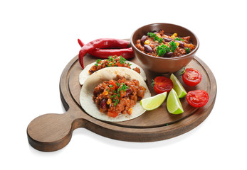 Chili con carne in bowl with tortillas and vegetables, isolated on white