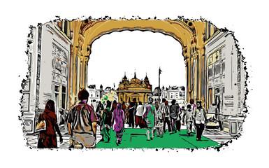 Color sketch of Golden Temple Amritsar Punjab, India in illustration.