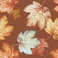 Autumn seamless pattern. Watercolor hand painted illustration.
