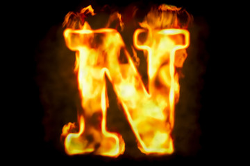 Fire letter N of burning flame light, 3D rendering