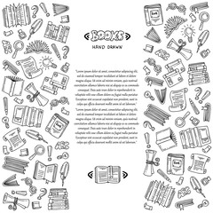 Vector cover with hand drawn books on white color. Illustration on the theme of education