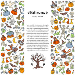 Vector cover with hand drawn colored symbols of Halloween on white color