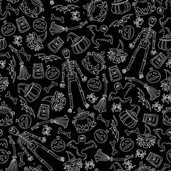 Vector seamless pattern with hand drawn symbols of Halloween on black color