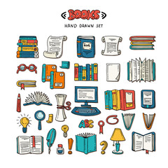 Vector set with hand drawn isolated colored doodles on the theme of books and education on white background