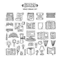 Vector set with hand drawn isolated doodles on the theme of books and education on white background