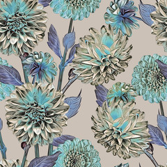 Dahlias seamless pattern. Artistic background. Hand drawn Illustration.