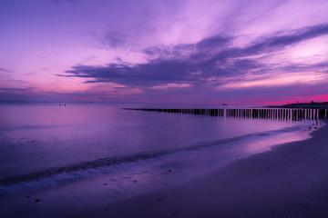 ultra violet sunset over seascape.