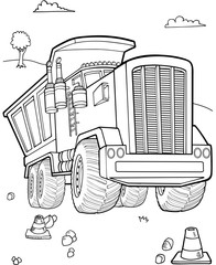 Stores à enrouleur Cartoon draw Dump Truck Construction Vector Illustration Art