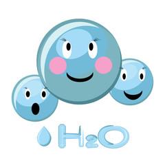 Cartoon illustration of water molecule and water formula H2O.