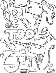Wall Murals Cartoon draw Cute Tool Construction Vector Set Illustration Art