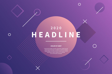 Abstract memphis style purple background with dynamic geometric shapes. Trendy banner with copy space frame. Applicable for presentation, party invitation, brochure. Vector eps 10.