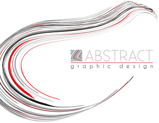Smooth shape. Abstract template with black, red and gray thin stripes. Vector graphics