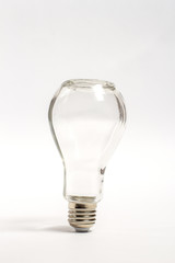 Glass empty can in the form of a light bulb