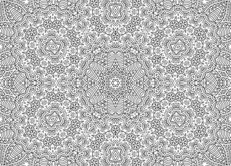 Black and white abstract outline concentric pattern