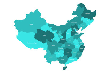 Regional map of administrative provinces of China. Four shades of turquoise blue with white labels on white background. Vector illustration.