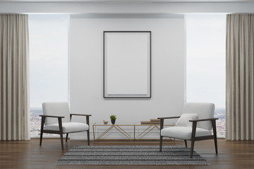 White living room, two white armchairs