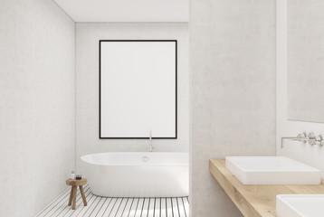 White bathroom, white tub, poster