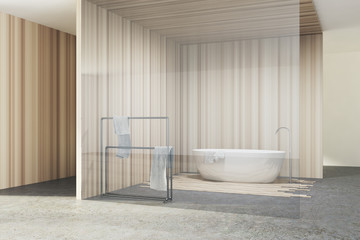 Glass and wooden bathroom, white tub