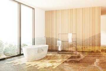 White and wooden bathroom, white tub, loft toned