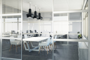 Glass meeting room interior, corner
