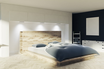 White and black bedroom, a poster