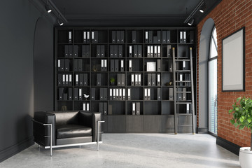 CEO office, bookcase, armchair, ladder