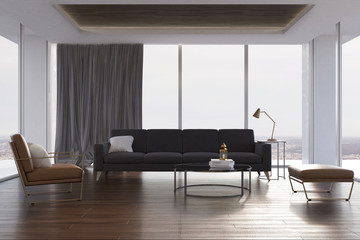 Loft living room, gray sofa and armchair