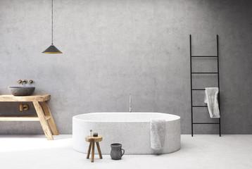 Concrete bathroom, round tub