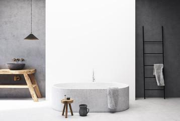 Concrete and white bathroom, round tub