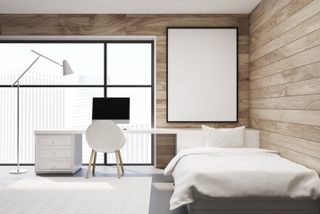 Wooden bedroom, computer and poster, front