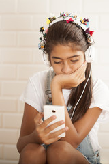 beautiful teenager girl listening music