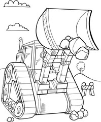 Foto auf Acrylglas Cartoon draw Bulldozer Construction Vector Illustration Art