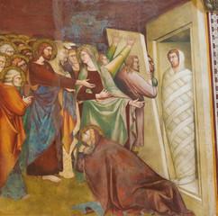 Fresco in San Gimignano - Jesus and Lazarus
