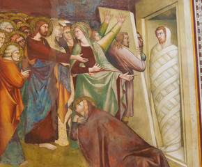 Fresco in San Gimignano - Jesus and Lazarus