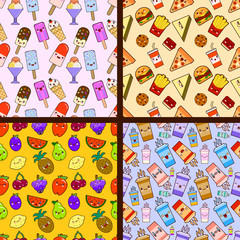 set of food seamless patterns kawaii characters. Flat design Vector Illustration