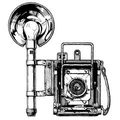 illustration of press camera