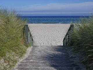 Stairs to the beach between the dunes