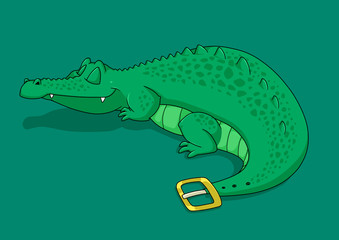 Crocodile belt cartoon poster illustration