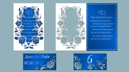Vector illustration Postcard. Invitation and greeting card. Arch of flowers. Pattern for the laser cut. rose