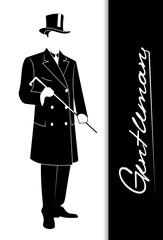 Elegant gentleman with a cane.
