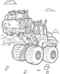 Door stickers Cartoon draw Construction Front Loader Vector Illustartion Art
