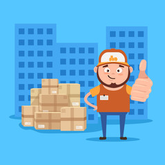 Happy smiling delivery man courier show ok sigh with hand. Supply in time concept. Vector flat cartoon illustration