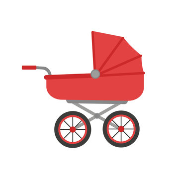 Baby stroller illustration. Vector. Isolated.