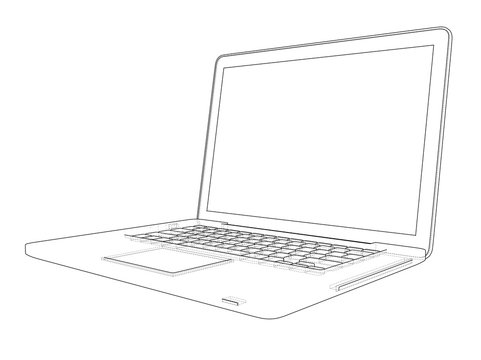 Laptop sketch. Vector