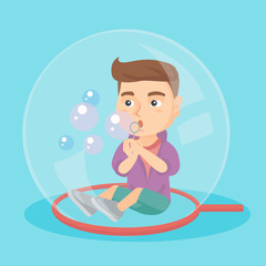 Little caucasian boy sitting on the floor inside a big soap bubble and blowing bubbles. Boy playing with soap bubbles while sitting inside soap bubble. Vector cartoon illustration. Square layout.